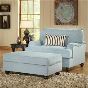 Benchmark Upholstery Carlton Upholstered Chair U0026 A Half With Ottoman