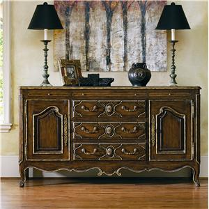Les Marches Carved Sideboard with Madeira Marble Top by Marge Carson