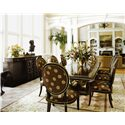 Marge Carson Rue Royale 9 Piece Table & Chair Set - Item Number: RR21+2x46+6x45