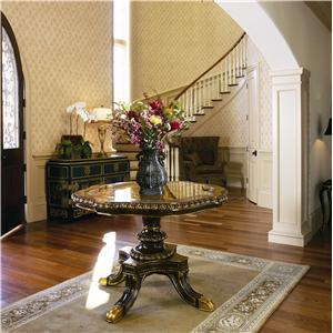 Yorkshire Manor Carved Pedestal Center Table with Glass Top by Marge Carson