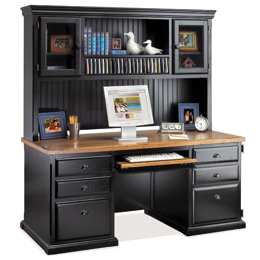 kathy ireland Home by Martin Southampton Computer Desk & Deluxe Hutch - Item Number: IMSO685+682