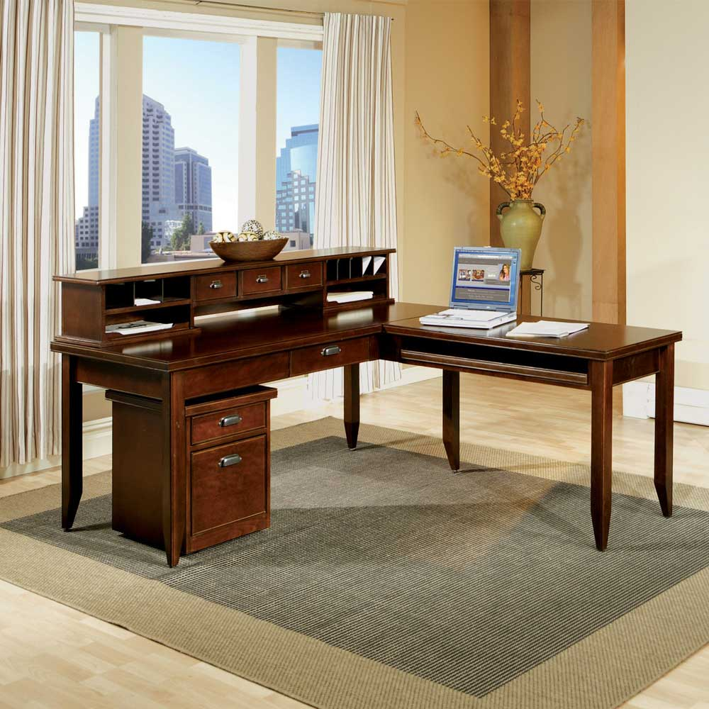 kathy ireland Home by Martin Tribeca Loft L-Shaped Desk with Return & Hutch - Item Number: TLC384+384R+678
