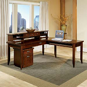 kathy ireland Home by Martin Tribeca Loft L-Shaped Desk with Return & Hutch