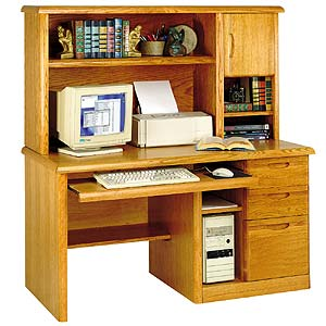kathy ireland Home by Martin Waterfall Single Pedestal Computer Desk with Hutch and Extra-Wide Keyboard Pullout Drawer