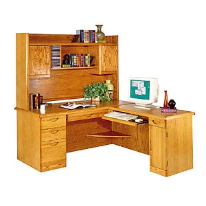 kathy ireland Home by Martin Waterfall L-Shaped Desk and Hutch with Return