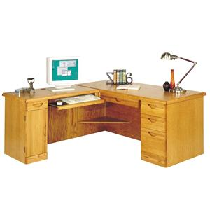 Martin Home Furnishings Waterfall Office 66-Inch Desk with LAF Keyboard Return