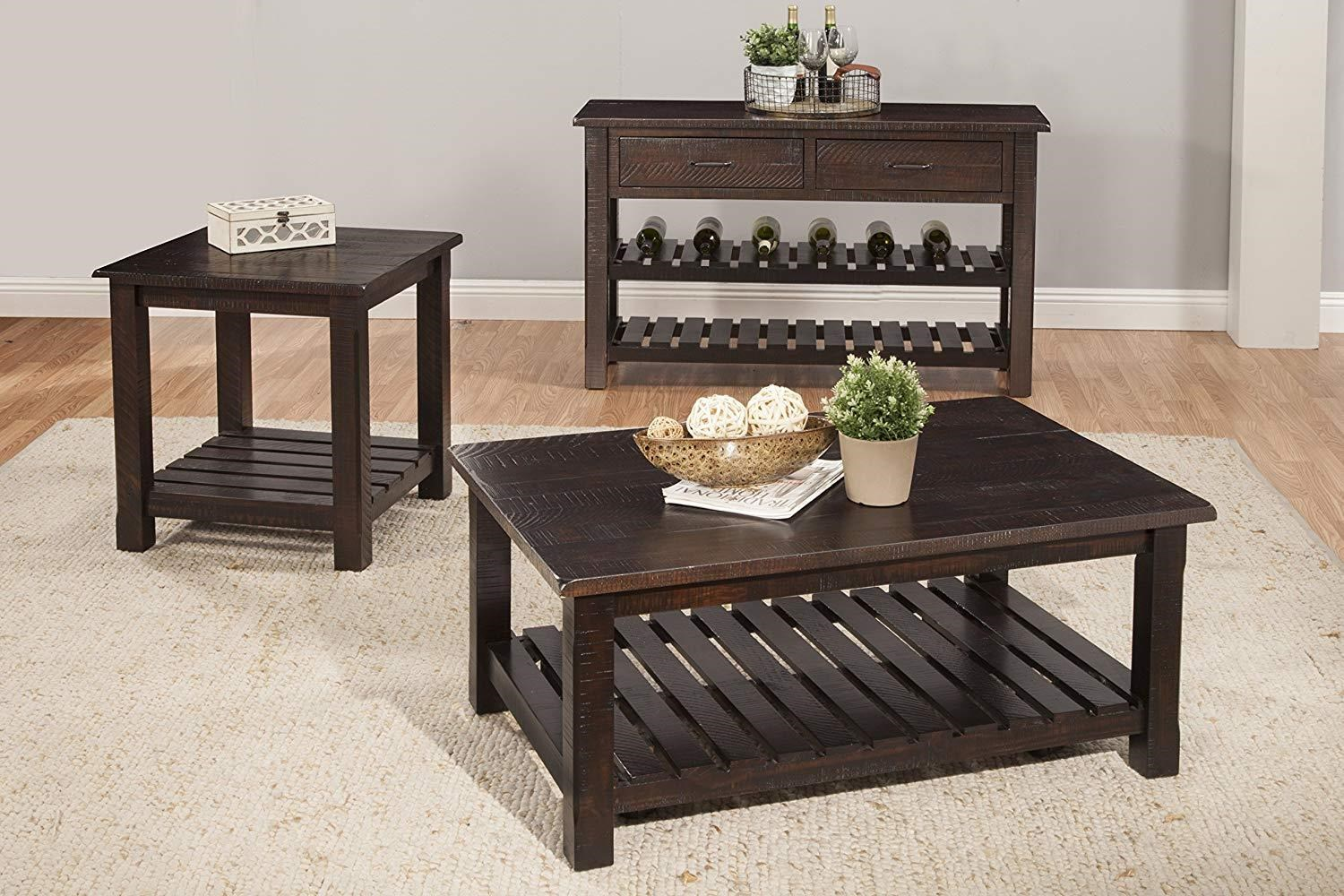 Rustic Espresso Coffee Table and 2 End Table