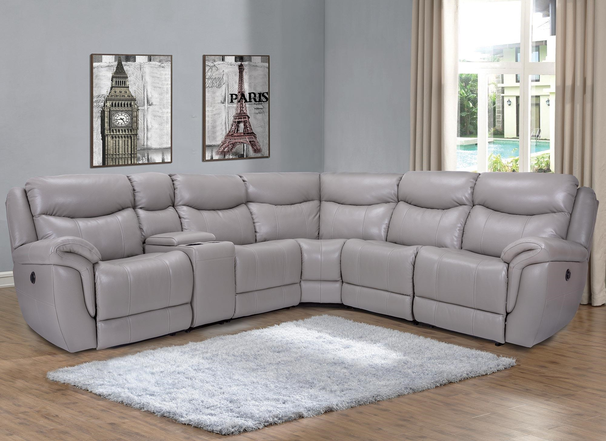 6PC Power Reclining Leather Sectional