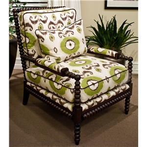 Accent Chairs By Massoud. Exposed Turned Wood Arm Chair
