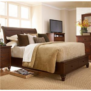 Manhattan Transitional Queen Sleigh Storage Bed with Panel Detail by MasterCraft