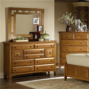 Retreat Casual 9 Drawer Mule Chest and Landscape Mirror with Open Frame by MasterCraft