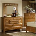 MasterCraft Retreat Casual 9 Drawer Mule Chest and Landscape Mirror with Open Frame - 3105-MC+3106-MR