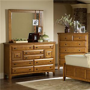 Retreat Casual 9 Drawer Mule Chest and Square Mirror by MasterCraft
