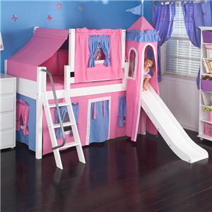 Maxtrix Wow Loft Bed w/ Angle Ladder, Slide, & Fabrics