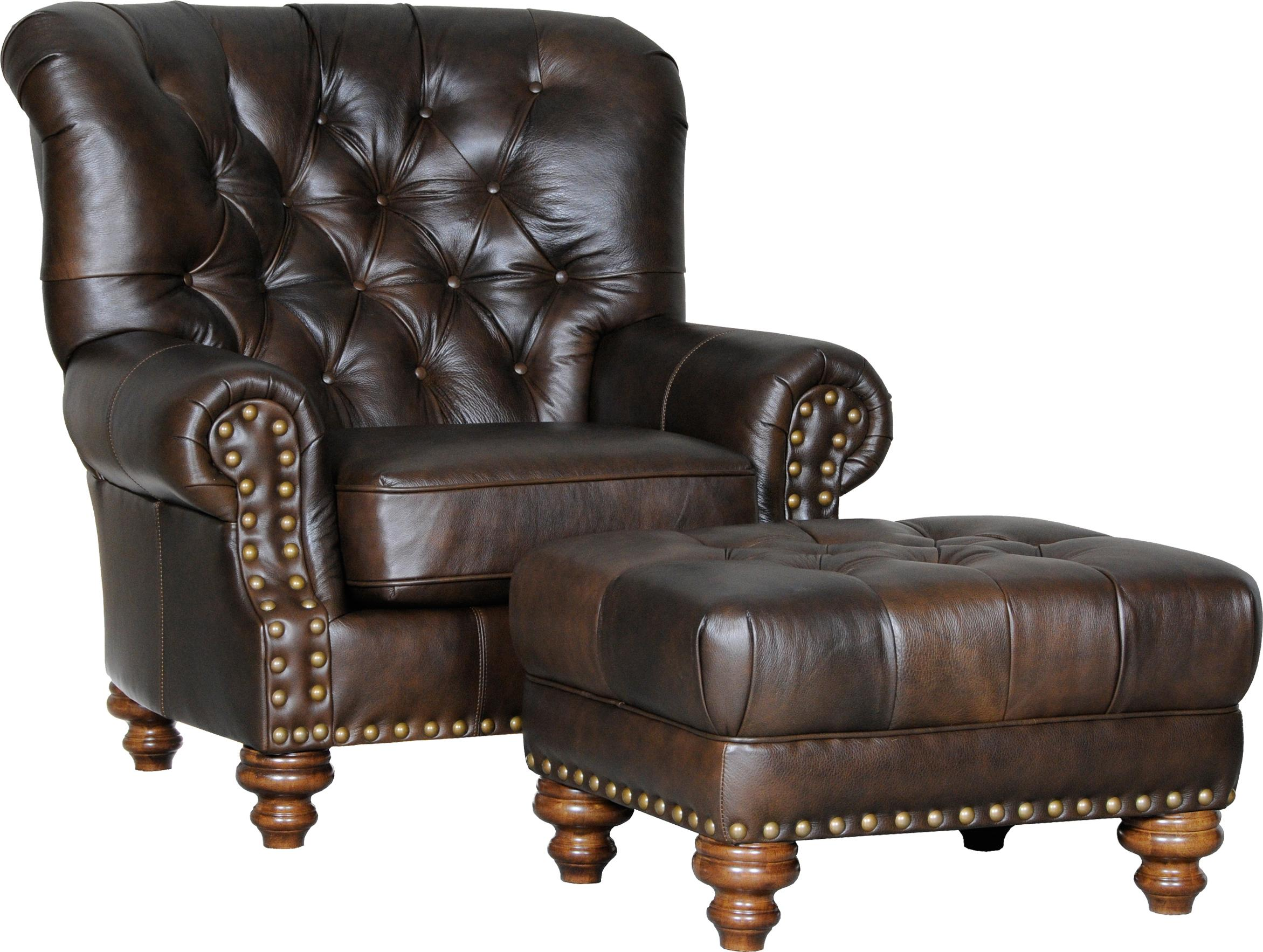 Mayo 931 Traditional Chair And Ottoman With Tufted Seat
