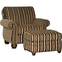 Mayo 9780 Traditional Ottoman with Exposed Wood Spool Legs
