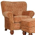 Mayo 9730 Traditional Upholstered Chair with Fluted Spool Legs - Alternate Fabric