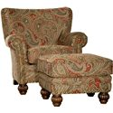 Mayo 9730 Traditional Upholstered Ottoman with Fluted Spool Legs - Shown with Matching Chair