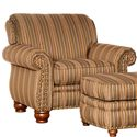 Mayo 9780 Traditional Upholstered Chair with Exposed Wood Spool Legs - Shown in Alternate Fabric