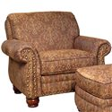 Mayo 9780 Traditional Upholstered Chair with Exposed Wood Spool Legs - Alternate Fabric