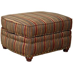 9780 Traditional Ottoman with Exposed Wood Spool Legs by Mayo