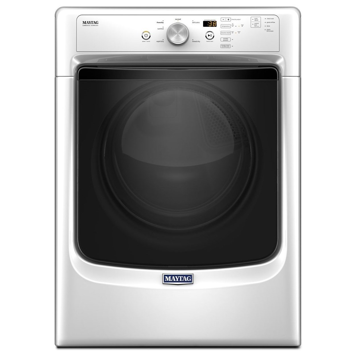 Maytag Front Load Gas Dryer 3500 Series 7.4 Cu. Ft Large Capacity Dryer - Item Number: MGD3500FW