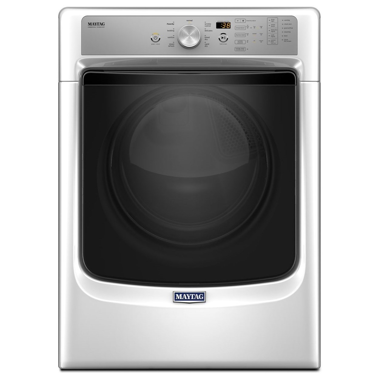 Maytag Front Load Gas Dryer 5500 Series 7.4 Cu. Ft Large Capacity Dryer - Item Number: MGD5500FW