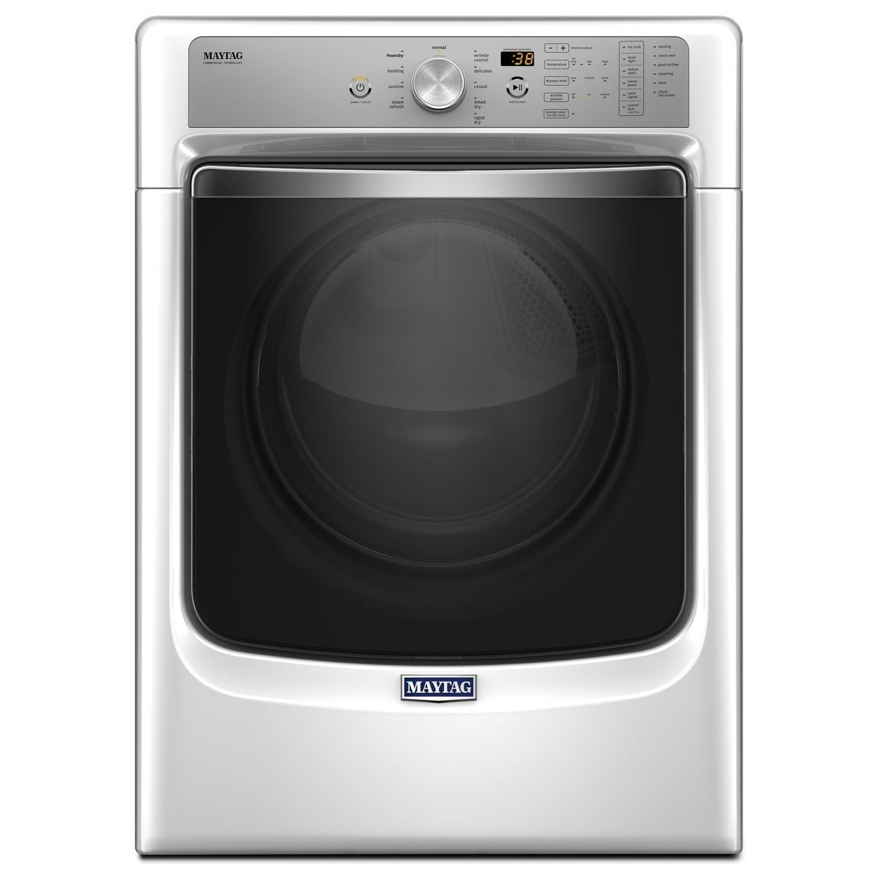 Maytag Front Load Gas Dryer 8200 Series 7.4 Cu. Ft Large Capacity Dryer - Item Number: MGD8200FW