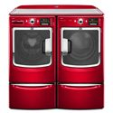 Maytag Gas Dryers 7.4 Cu. Ft. Maxima® High-Efficiency Front-Load Gas Steam Dryer - Shown with Coordinating Washer, Optional Pedestals, and WorkSurface