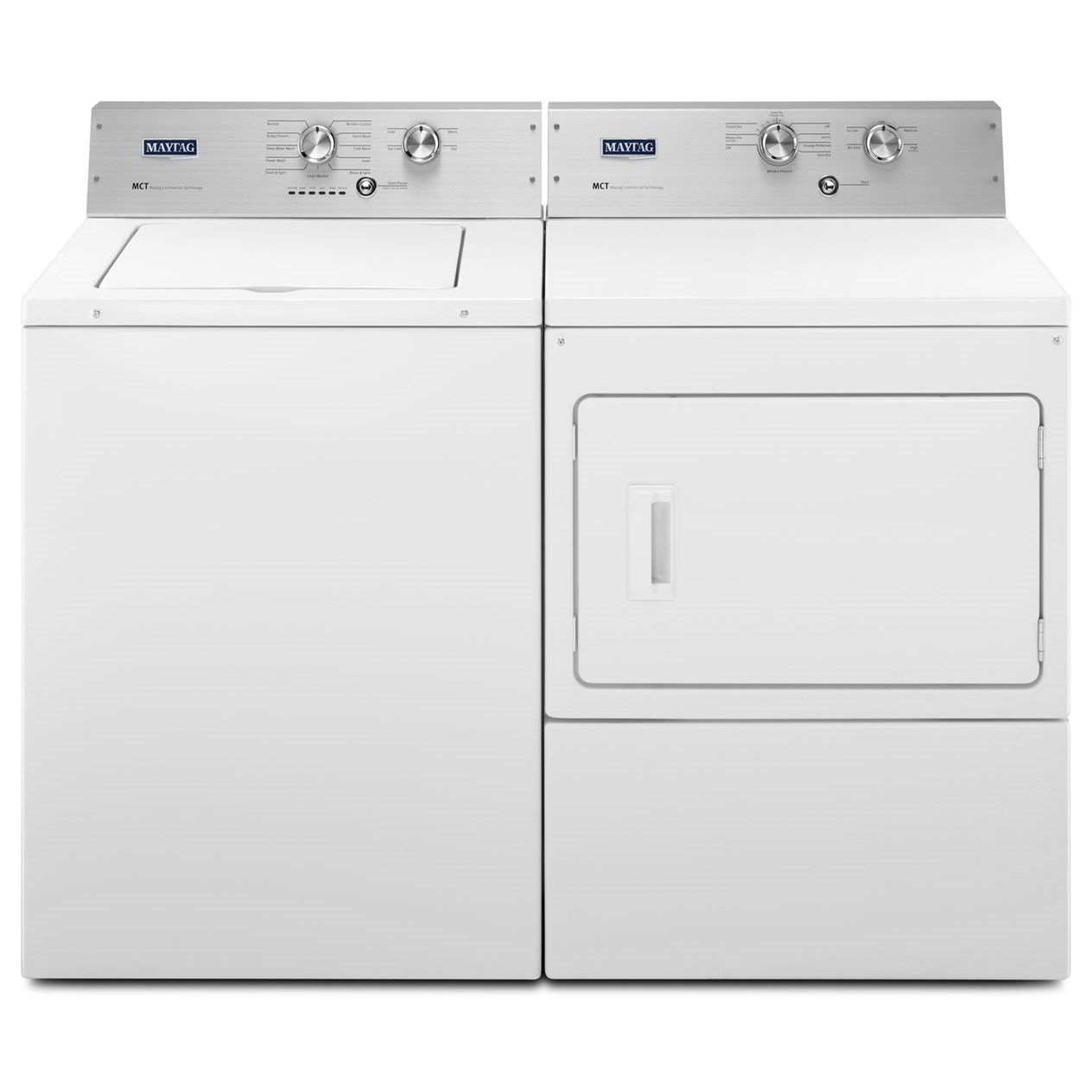 Maytag Washer and Dryer Sets 3.6 Cu. Ft. Washer and 7.4 Cu. Ft. Dryer - Item Number: MVWP475EW+MEDP475EW