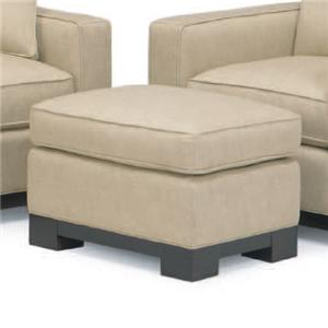 McCreary Modern 0555 Contemporary Rectangular Ottoman with Wood Base Rail