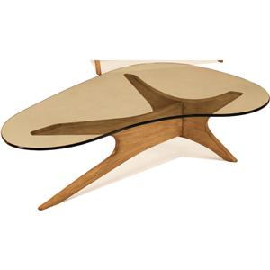 McCreary Modern Occasional Tables Boomerang Cocktail Table with Glass Top