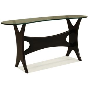 McCreary Modern Occasional Tables Console Table with Boomerang-Shaped Beveled Glass Top and Unique Wood Base