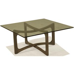 McCreary Modern Occasional Tables Square Cocktail Table with Open Wood Base and Smoky Glass Top