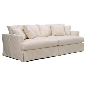 McCreary Modern 0778 Grand, Extra Long Slipcover Sofa with Pleated Skirt and Flared Arms