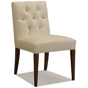 McCreary Modern 0930 Upholstered Dining Side Chair with Diamond Tufting and Wood Legs