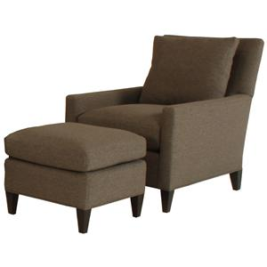 McCreary Modern 1065 Modern Lounge Chair and Ottoman Set with Exposed Wood Legs
