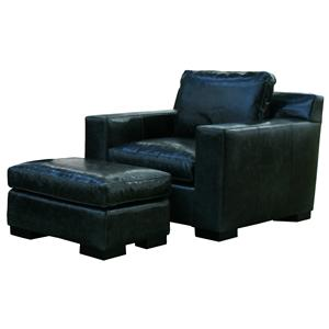 McCreary Modern 1095 Modern Chair and Ottoman Set with Plush Seat Cushions