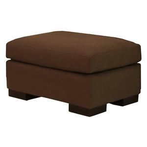 McCreary Modern 1095 Plush Upholstered Ottoman with Exposed Wood Feet