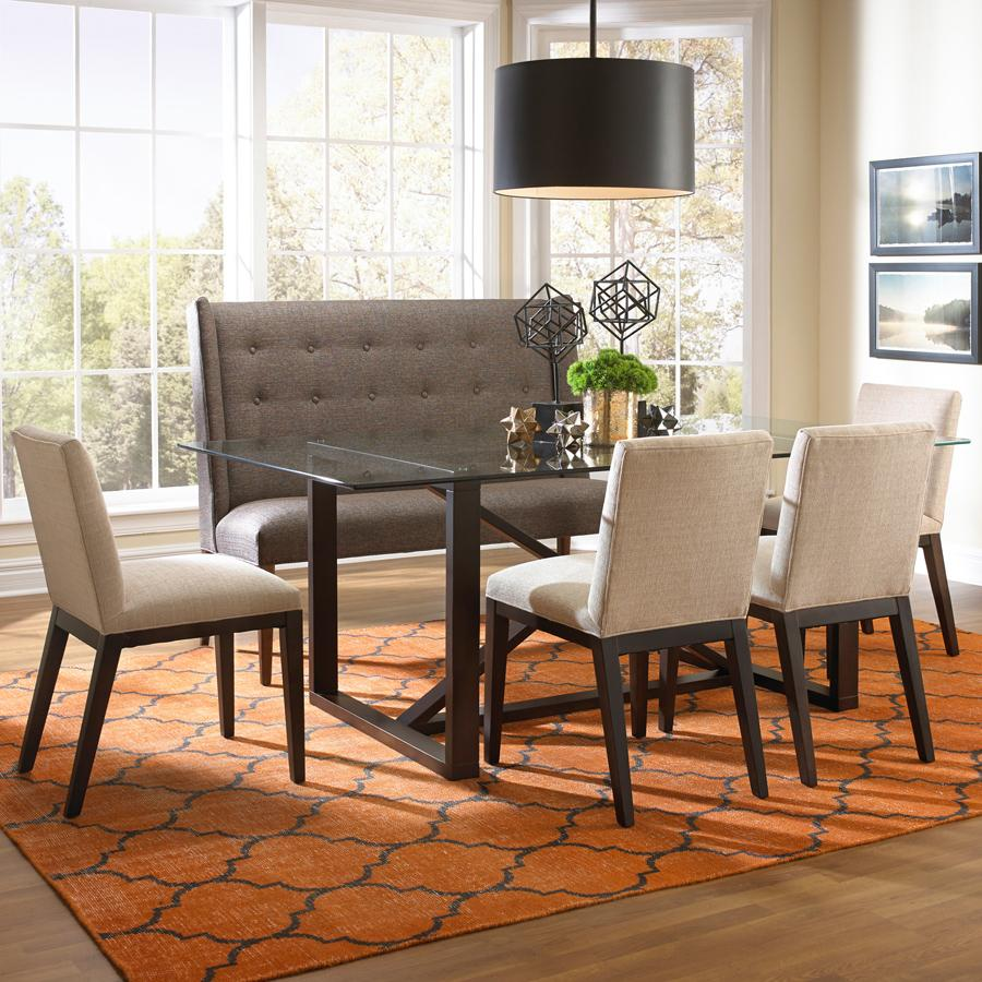 BeModern Argo Contemporary Dining Set with Settee - Item Number: 10DT-18+4x0531+1320-ST