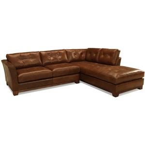 McCreary Modern 1260 L-Shaped Contemporary Sectional Sofa with Flared Arms and Tufted Cushions