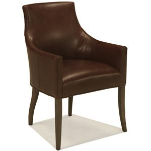 McCreary Modern 1336 Upholstered Dining Arm Chair with Sloping Track Arms and Wood Legs