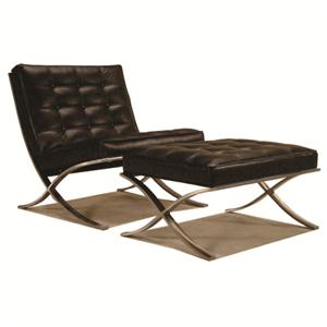 Merveilleux McCreary Modern 810 Leather Armless Chair And Ottoman