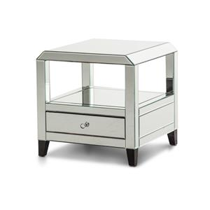 Michael Amini Montreal Mirrored Square Accent Table with Drawer