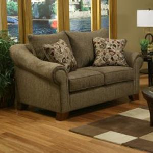 Rialto Loveseat Sofa with Rolled Arms and Saber Feet by Michael Nicholas