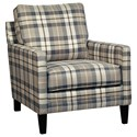 Millennium Austwell Track Arm Accent Chair in Plaid Fabric