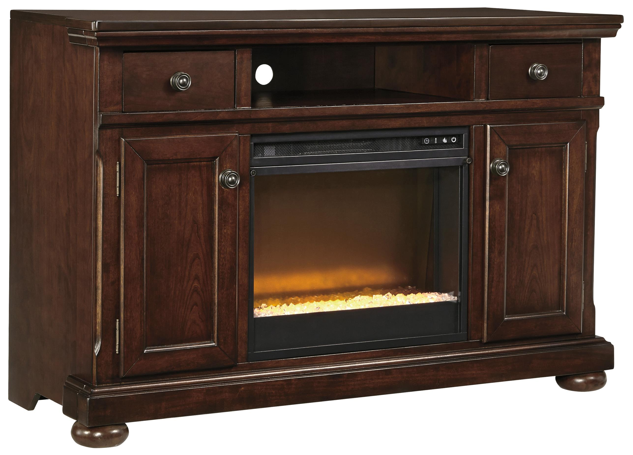 Millennium Porter Large TV Stand with Fireplace Insert - Item Number: W697-120+W100-02