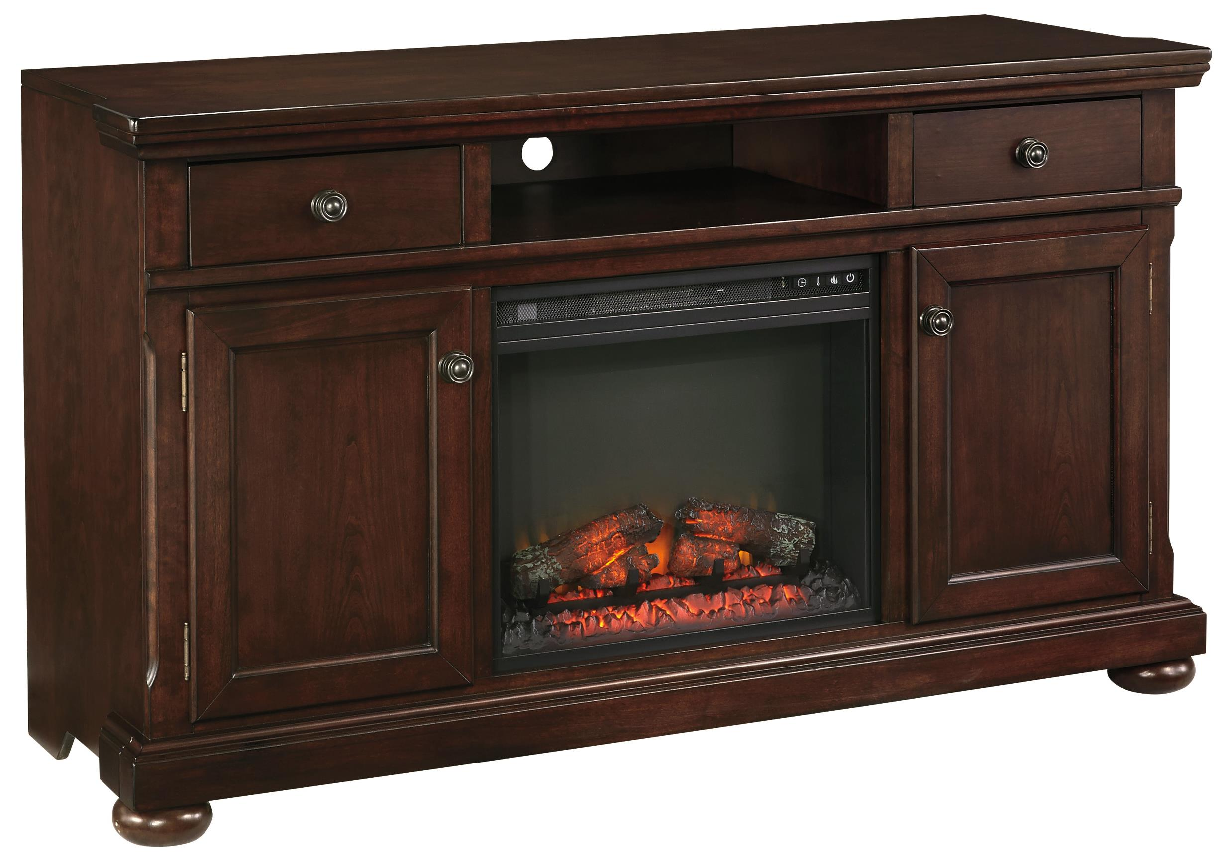 Millennium Porter Extra Large TV Stand with Fireplace Insert - Item Number: W697-132+W100-01