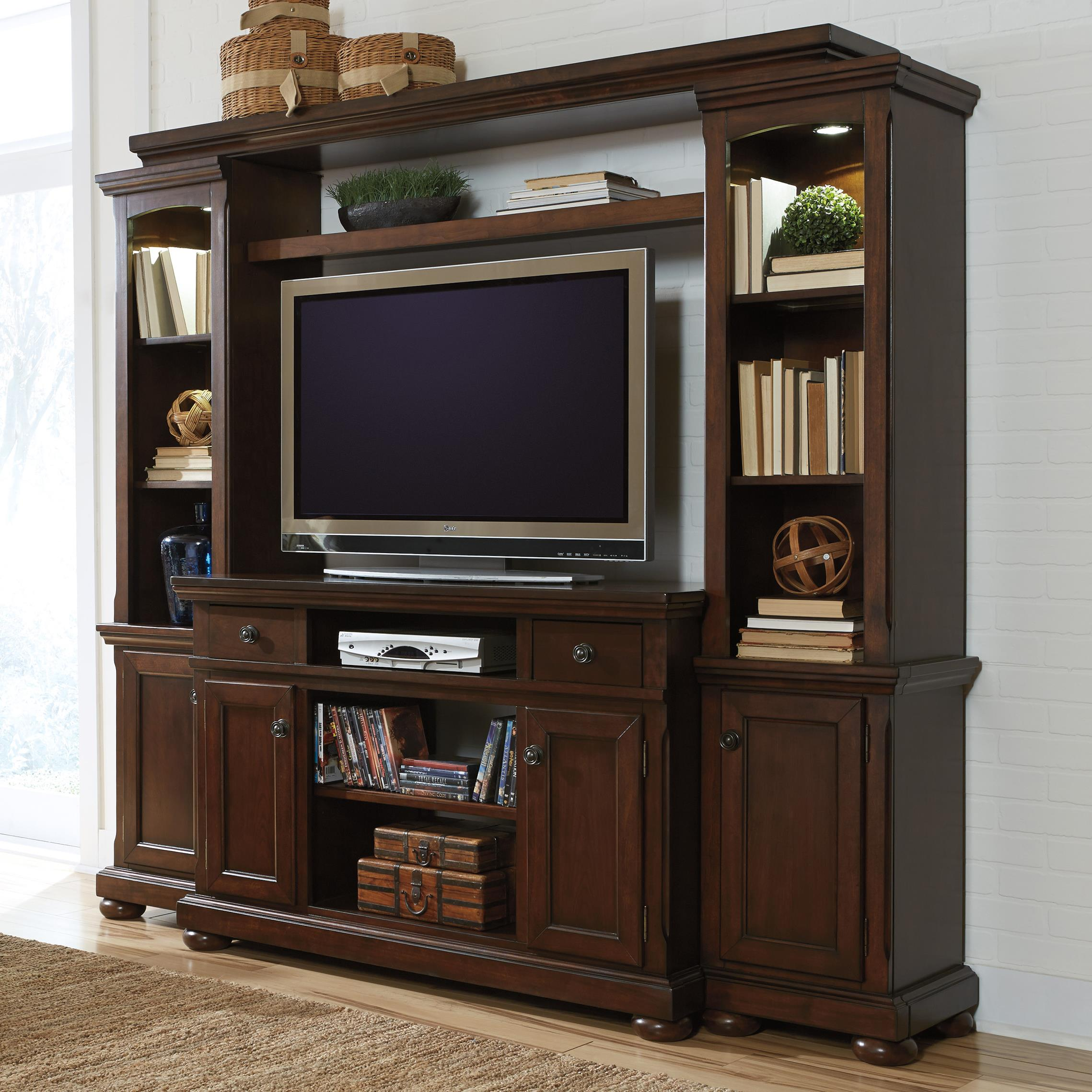 Millennium Porter TV Stand, Bridge, and Piers - Item Number: W697-24+25+120+23