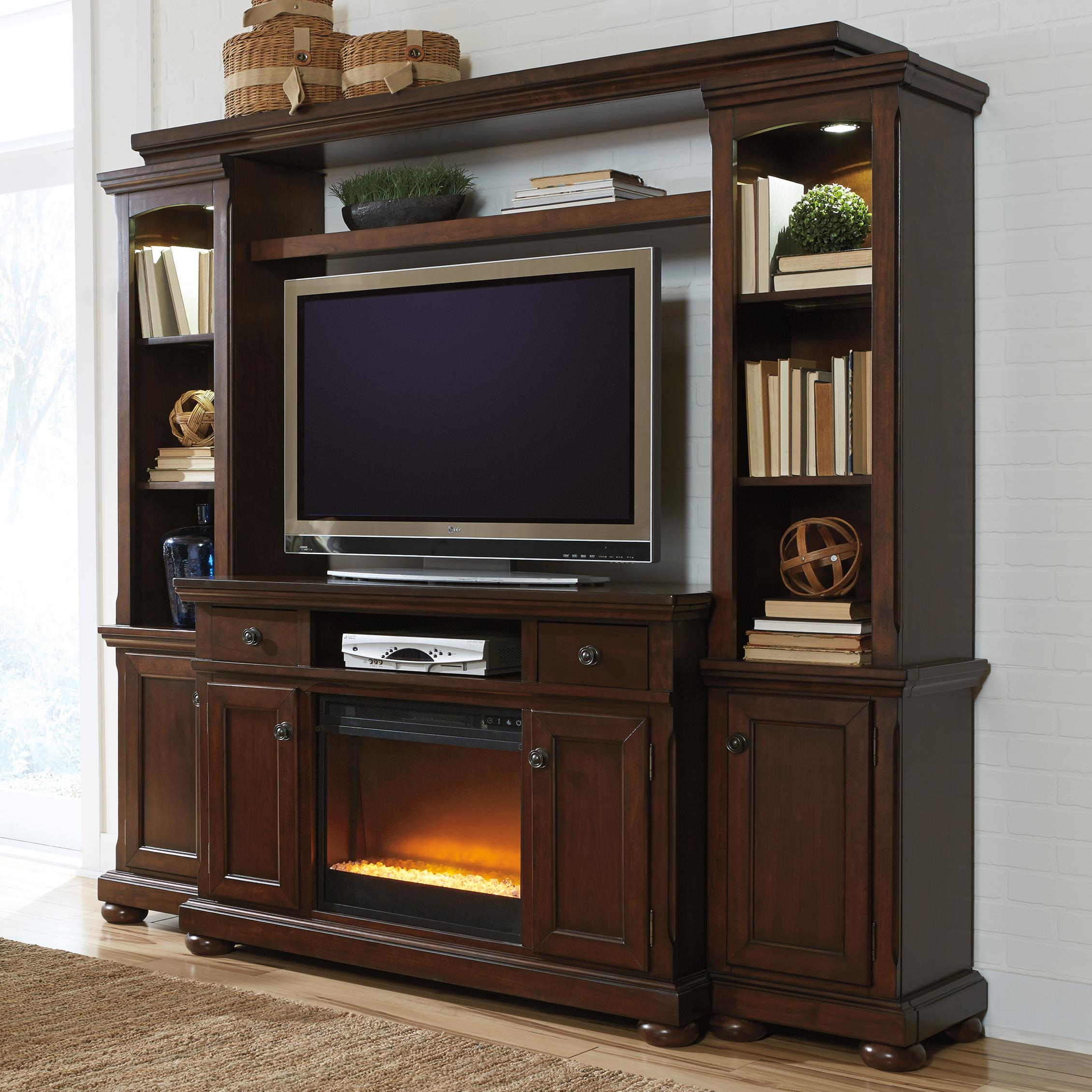 Millennium Porter TV Stand, Bridge, and Piers - Item Number: W697-24+25+23+120+W100-02